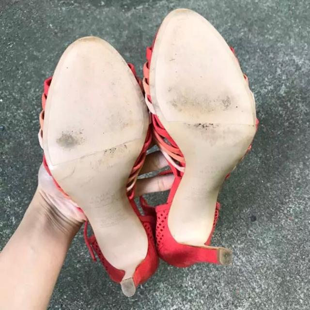 ZARA(ザラ)のZARA ザラ ストラップヒールサンダル 夏 オレンジ レディースの靴/シューズ(サンダル)の商品写真