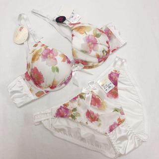 新品 A85白カラフル花柄ブラジャーセットショーツLL大きいサイズ下着(ブラ&ショーツセット)