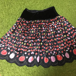 ツモリチサト(TSUMORI CHISATO)のツモリチサト★チェリーシルクスカラップスカート黒(ひざ丈スカート)