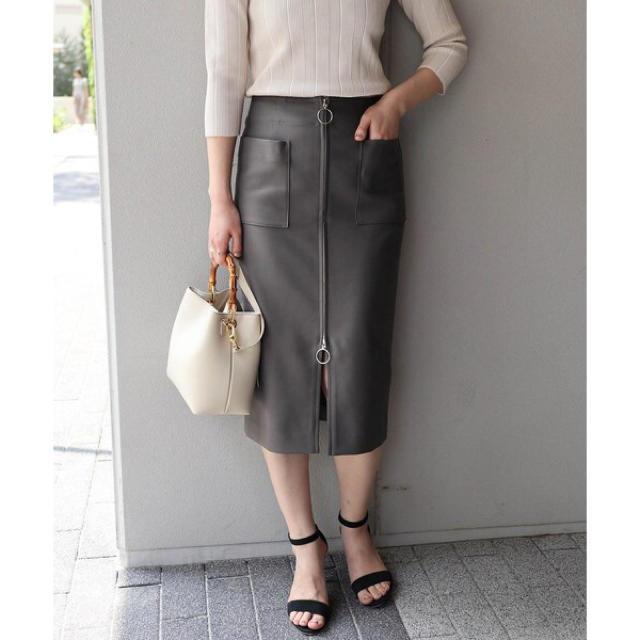Noble(ノーブル)のNoble◾️34◾️2018SS フープジップタイトスカート グレー レディースのスカート(ひざ丈スカート)の商品写真