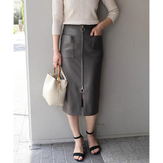 ノーブル(Noble)のNoble◾️34◾️2018SS フープジップタイトスカート グレー(ひざ丈スカート)