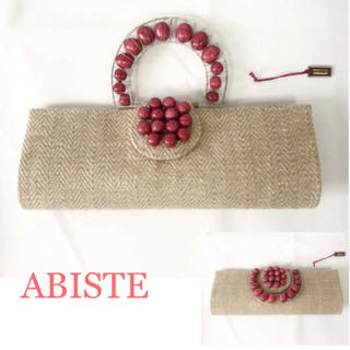 アビステ(ABISTE)のタグ付き新品!ABISTE 2wayリネン&ストーンクラッチハンドバッグ(クラッチバッグ)