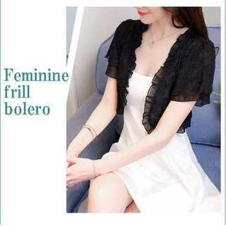 黒 ボレロ 二重 フレア袖 ショート丈 フラワーレース柄 透けない ボレロ(ボレロ)