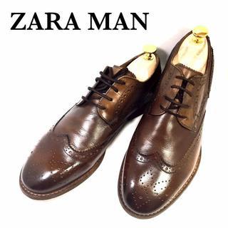ザラ(ZARA)の美品!!ZARA MAN*40*ヴィンテージ風ウィングチップ革靴*濃茶(ドレス/ビジネス)