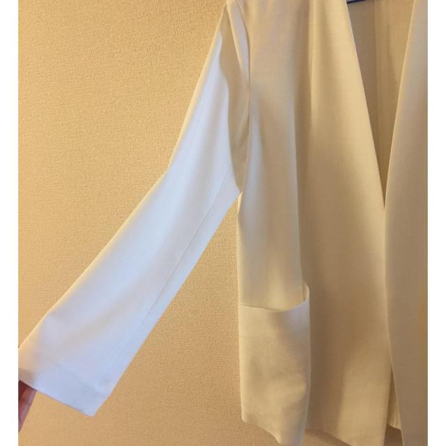 Noble(ノーブル)のNoble ノーカラーホワイトロングジャケット レディースのジャケット/アウター(ノーカラージャケット)の商品写真