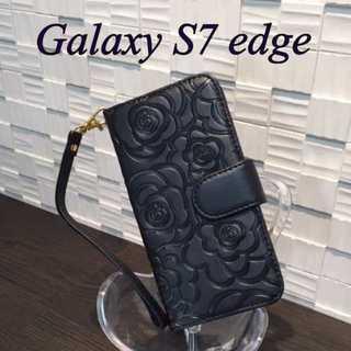 黒★GALAXY s7 edge用 カメリア 手帳型ケース カバー★