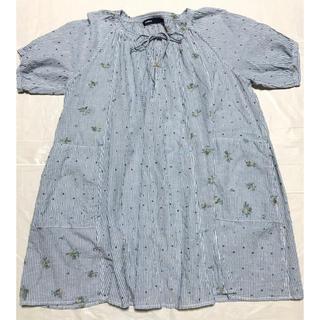 アズノウアズ(AS KNOW AS)の半袖チュニック刺繍  フリーサイズ 水色(チュニック)