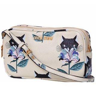 ミュウミュウ(miumiu)のMIUMIU ミュウミュウ バッグ マドラス キャット 猫 プリント イエロー(ショルダーバッグ)