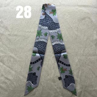 【大人気】シルクスカーフ ツイリー バッグスカーフ #28 レオパード(バンダナ/スカーフ)
