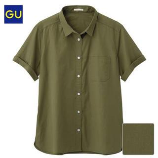 ジーユー(GU)のGU♡ロールアップシャツ♡カーキ(シャツ/ブラウス(半袖/袖なし))