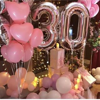 big0〜9数字バルーンナンバー風船 パーティー誕生日 シルバー 110cm(ガーランド)