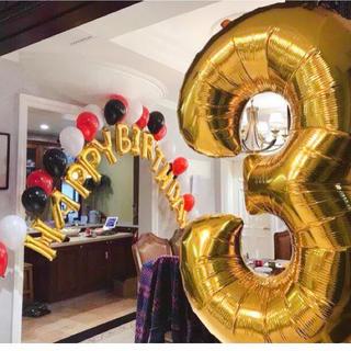 big0〜9数字バルーンナンバー風船 パーティー誕生日 ゴールド110cm(ガーランド)