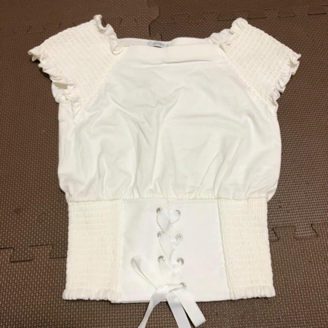 しまむら(シマムラ)のしまむら 編み上げコルセットトップス カットソー Tシャツ レディースのトップス(カットソー(半袖/袖なし))の商品写真