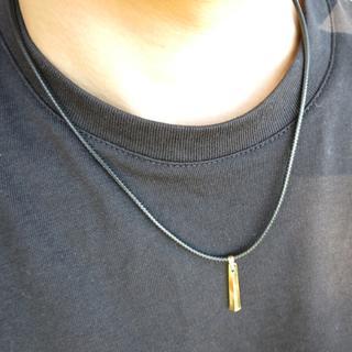 革紐 メタルスティックネックレス ゴールド メンズ(ネックレス)