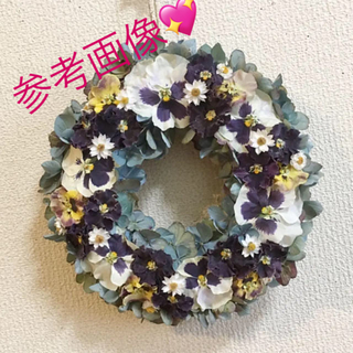 フリフリパンジーと秋色紫陽花のリースL