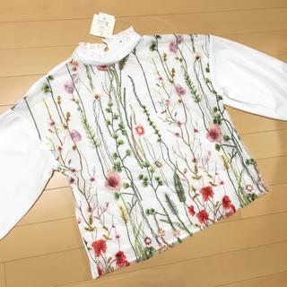 シマムラ(しまむら)の新品タグ付き♡ハイネック 刺繍ブラウス ホワイト L(シャツ/ブラウス(長袖/七分))