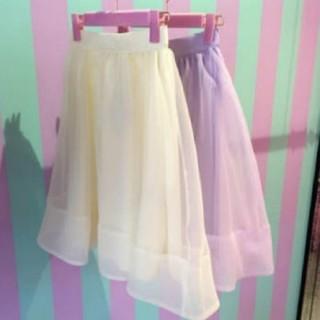 リルリリー(lilLilly)のlilL illyオーガンジースカート(ひざ丈スカート)