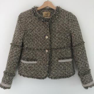 Noble - 美品ノーカラーツイードジャケット