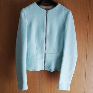 ザラ(ZARA)のZARA 【美品】ミントグリーン ペプラムジャケット(ノーカラージャケット)