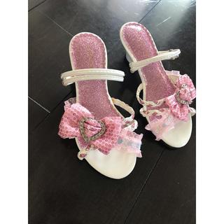 サンダル 女の子 ヒール カンカン靴 ラメ ピンク リボン フリル 春夏 19 (サンダル)