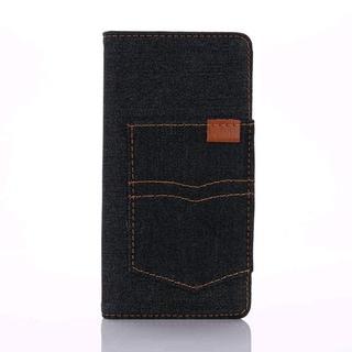iPhone6 iPhone6s ブラック デニム 手帳型ケース(iPhoneケース)