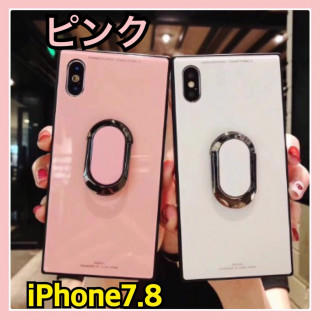 ⭐️年末SALE⭐️バンカーリング付【スクエア型鏡面】ピンク iPhone7.8(iPhoneケース)