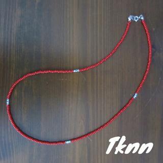 赤 ビーズネックレス 50cm メンズ(ネックレス)