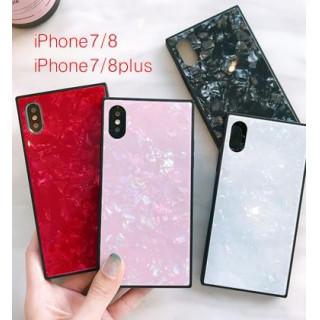 在庫処分★ピンク★iPhone 7/8 大理石風 スクエア シェル 貝殻 (iPhoneケース)