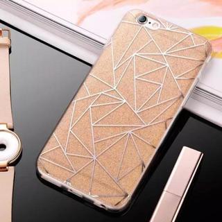 iPhone7 8【ゴールド】キラキラ グリッター ラメ ケース トライアングル(iPhoneケース)