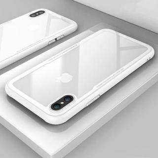 iphone XR シリコン エッジ クリア ハード ケース ホワイト(iPhoneケース)