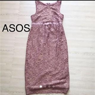 エイソス(asos)のマタニティ レース ピンク ドレス ワンピース(ミディアムドレス)