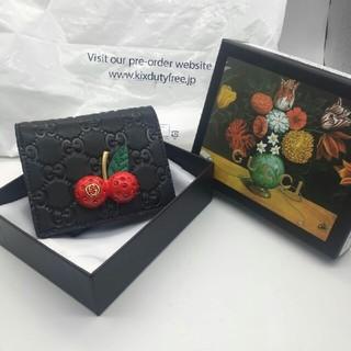 グッチ(Gucci)のGUCCI チェリー ミニ財布 ブラック(財布)