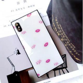 iphoneケース 白 唇柄 シェルケース スクエア キスマーク 強化ガラス (iPhoneケース)