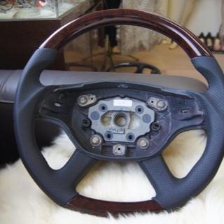 ベンツCLクラス革巻きウッドコンビW216前W221/ウォールナット/ガングリッ(車種別パーツ)