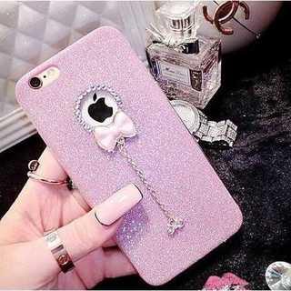 iPhone7 リボンチャーム付き スマホケース ピンク(iPhoneケース)