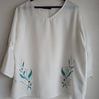 【GWセール】白シフォンブラウス 刺繍(シャツ/ブラウス(長袖/七分))