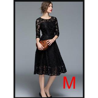 エレガント レース ドレス パーティ 結婚式 Aライン ワンピース ブラックM(ミディアムドレス)