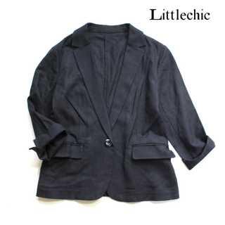 スーツカンパニー(THE SUIT COMPANY)のリトルシック★リネン混 スーツジャケット 38 ネイビー ロールアップ袖 涼しげ(スーツ)