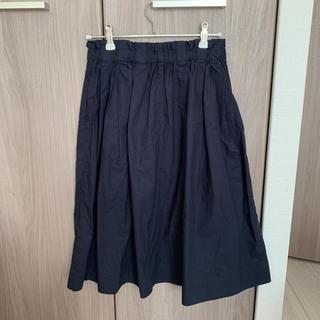 ムジルシリョウヒン(MUJI (無印良品))のひざ丈スカート 無印★ネイビーギャザースカート(ひざ丈スカート)