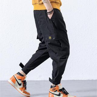 韓国ファッション★アメカジ ストリート系★メンズパンツ ブラック(ワークパンツ/カーゴパンツ)
