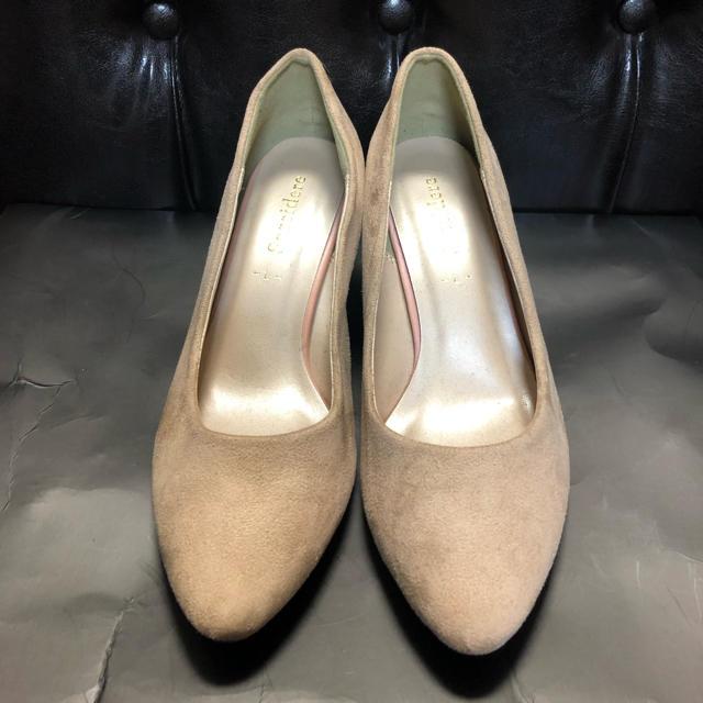 しまむら(シマムラ)の【新品】スエードパンプス 太ヒール ベージュ L レディースの靴/シューズ(ハイヒール/パンプス)の商品写真