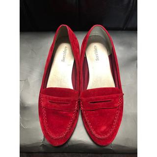 シマムラ(しまむら)のスエード調ローファー 赤 L(ローファー/革靴)