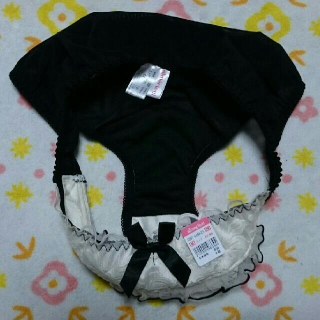 aimer feel(エメフィール)の🌺aimerfeel ❤ブラック「ホワイト花柄刺繍」フリル⭐size:M 新品 レディースの下着/アンダーウェア(ショーツ)の商品写真