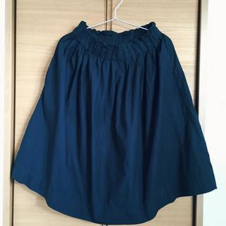 ムジルシリョウヒン(MUJI (無印良品))の【美品】コットンスカート ネイビー M(ひざ丈スカート)