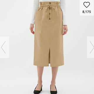ジーユー(GU)の美品 GU ペーパーバックミディスカート(ひざ丈スカート)