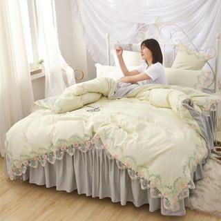 寝具セットカバー ベッドスカート フリルレース お洒落 シングル 3点セット (シーツ/カバー)