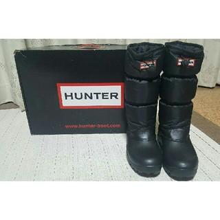 ハンター(HUNTER)の【美品】HUNTER ハンター スノーキルト BLACK 24.0cm(レインブーツ/長靴)