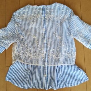 ザラ(ZARA)のZARA レースストライプブラウスシャツ S(シャツ/ブラウス(半袖/袖なし))