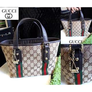 70b4109d74d3 グッチ(Gucci)のGUCCI グッチ シェリー GG キャンバス レザー バッグ ハンドバッグ(トートバッグ