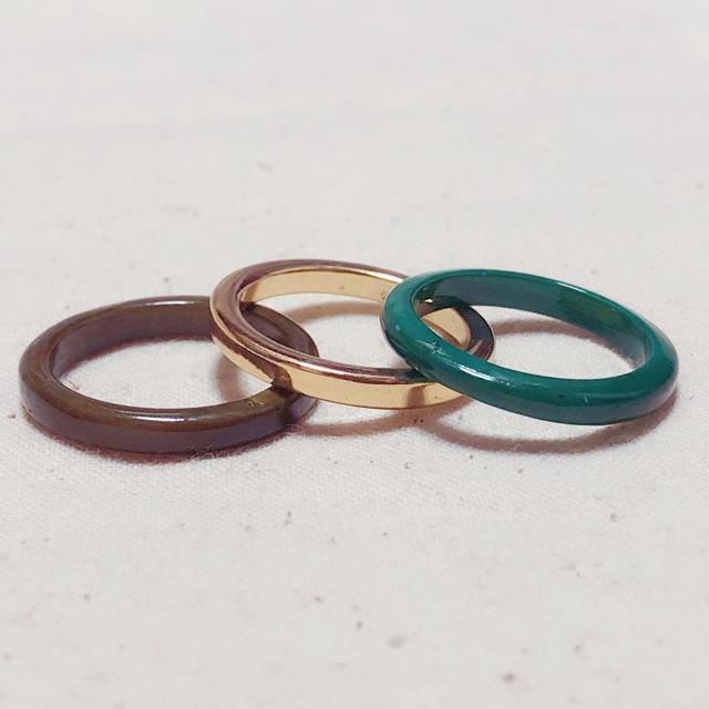 ZARA(ザラ)の指輪 リング 18号 19号 グリーン ゴールド ガラス メンズのアクセサリー(リング(指輪))の商品写真